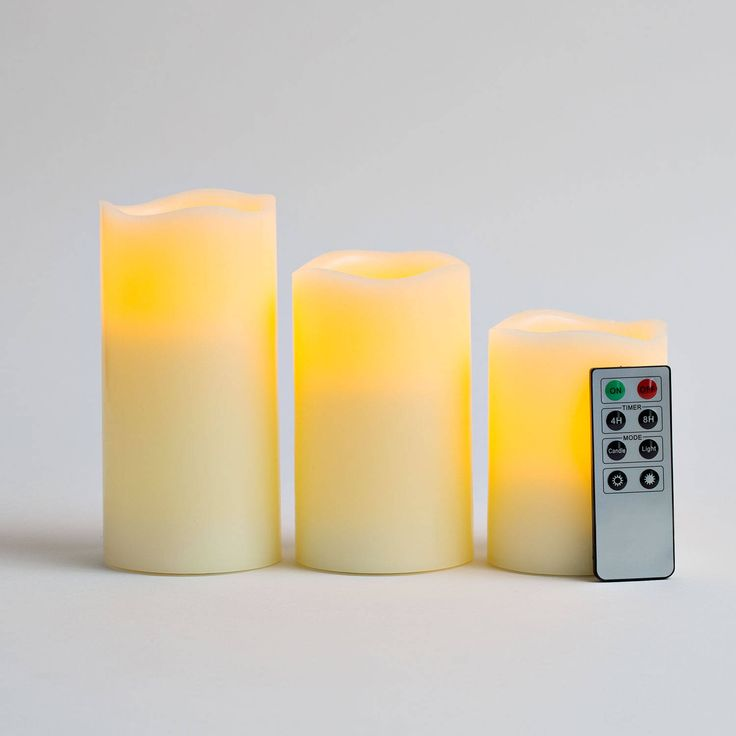 Flameless pillar candles: Ivory Wax battery operated candles with remote control; safe, LED  candles are great for home and party decor, DIY craft projects and more! Includes timer, dimmer and remote operation to set them aglow from a distance.
