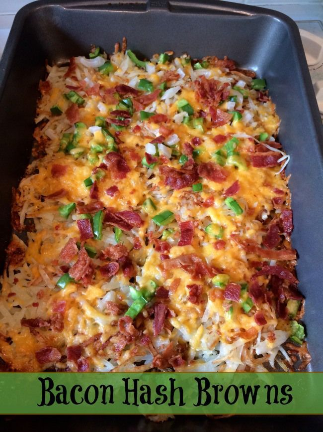 Simple recipe for bacon hash browns. This recipe does not have egg or soup in it. Makes a nice breakfast side dish.