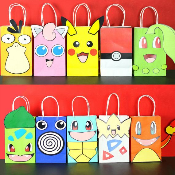 Decorate your Pokemon Party with these cute Pokemon faces on your Favor Bags. You may print as many as you need. Use them to create your own favor bags or centerpieces. This PDF file includes: 1 Pikachu (Yellow Bag) 1 Charmander (Orange Bag) 1 Togepi (White Bag) 2 Pokeball (White Bag) 1 Squirdo (Light Blue Bag) 1 Bulbasaur (Kiwi Green Bag) 2 Poliwhirl (Navy Blue Bag) 1 Chikorita (Kiwi Green Bag) 2 Jigglypuff (Pink Bag) 1 Pysduck (Mustard Yellow) Instruction Sheet (Bags are not included)…