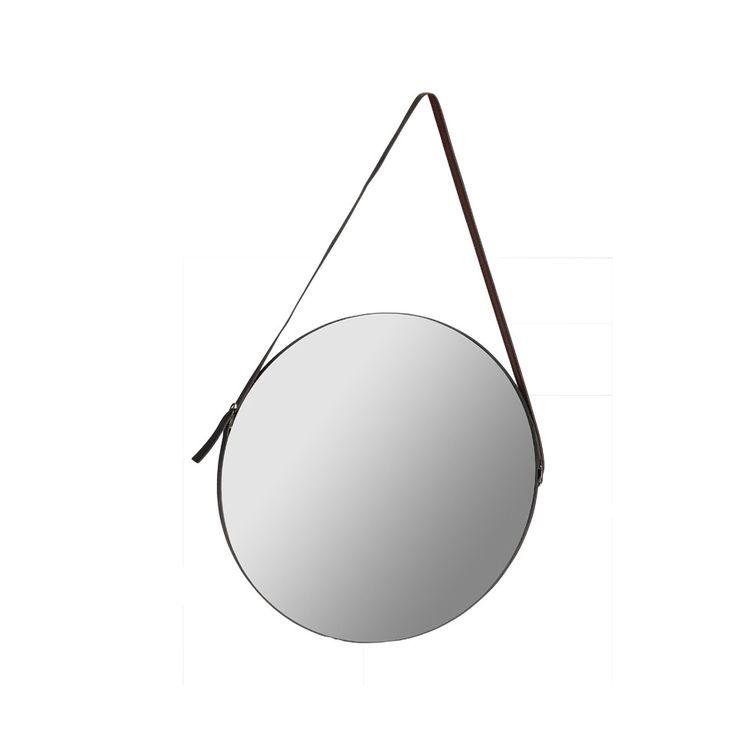 Spiegel aan leren band rond 40 cm xenos for Spiegel rond leer