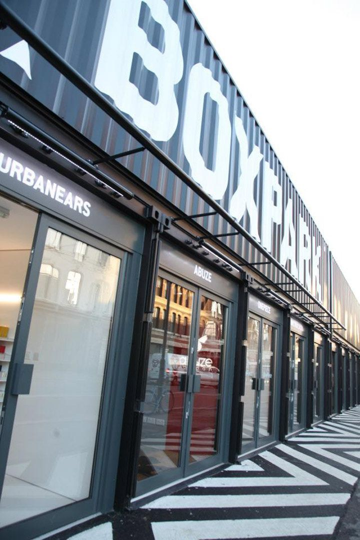 BOXPARK strips and refits shipping containers to create unique, low cost, low risk, 'box shops'. Put them together with a unique mix of international fashion, arts and lifestyle brands, galleries and cafés and you've got the world's first 'pop-up' mall – so named because its basic building blocks are inherently movable: they can, and will, literally pop up anywhere in the world!
