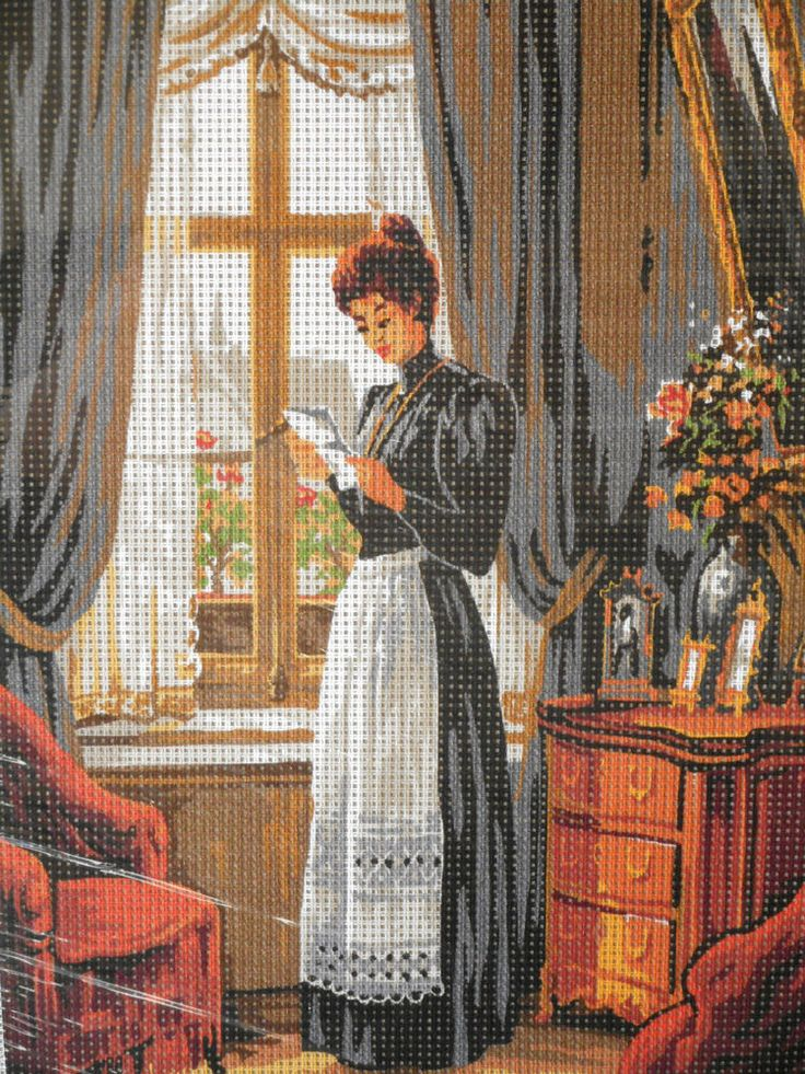 NEEDLEPOINT TAPESTRY KIT, YOUNG LADY, 30 x 40 cm, REF FK016 #NCT