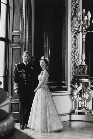 Prince Philip, the Duke of Edinburgh, and Her Majesty, Queen Elizabeth II, by Cecil Beaton, 10 October 1957.