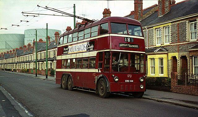 1950 Sunbeam trolleybus in Reading, England