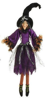 """H3319343 RETIRED Large 37"""" Purple Witch Halloween Table Decoration"""