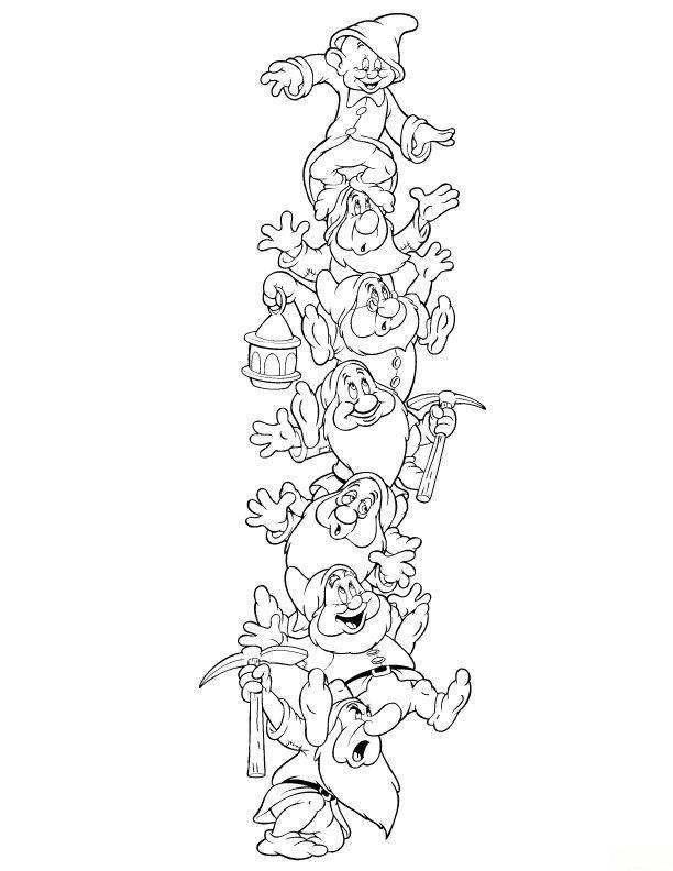 Seven Dwarfs Coloring Pages