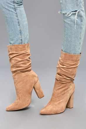 1c66f18f8af Paolina Nude Slouchy High Heel Mid-Calf Boots 4