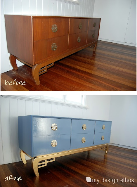 My Chinoiserie inspired sideboard/dresser makeover. Blue with gold accents!Hands Painting, Second Hands, Painting Second, Hands Chest, Gold Accent