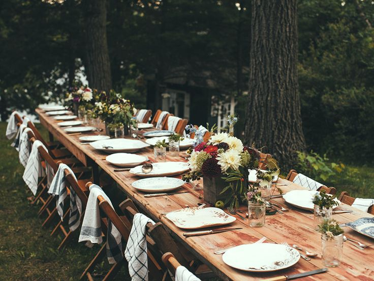 earthy outdoors table setting