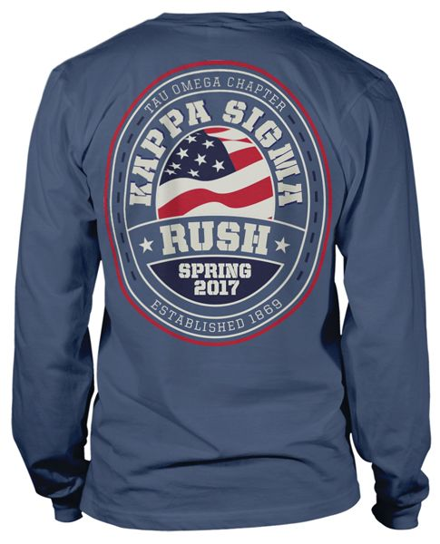 Kappa Sigma Patriotic Long Sleeve Rush T-shirt | MetroGreek | Greek T-shirts | Fraternity Tshirt
