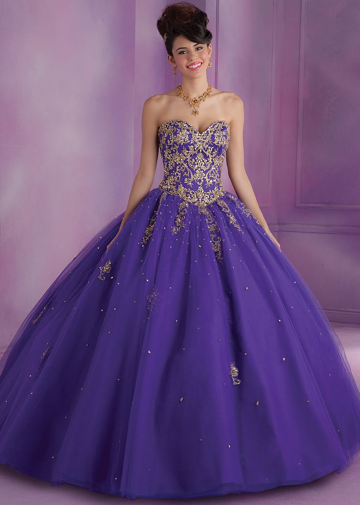 Mori Lee 89015 - Purple Beaded Strapless Quince Dress - RissyRoos.com
