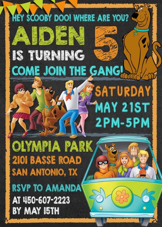 225 best scooby doo images on pinterest | scooby doo cake, scooby, Birthday invitations