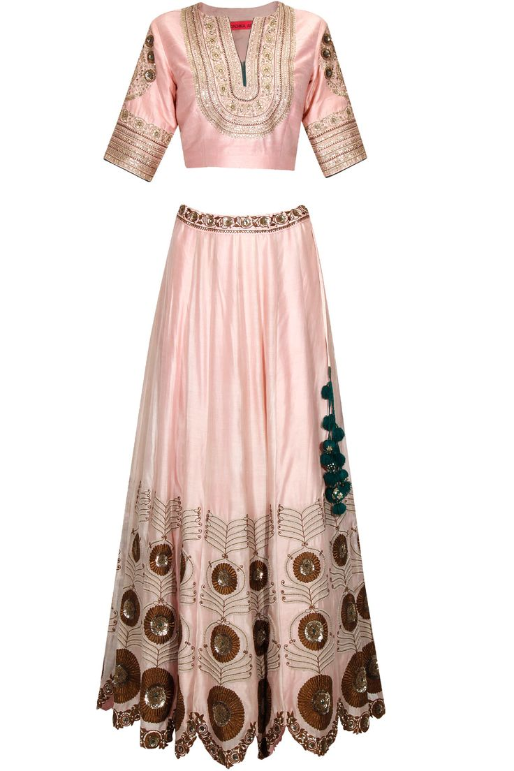 Light pink zari and sequins embroidered lehenga set available only at Pernia's Pop Up Shop. #perniaspopupshop #shopnow #newcollection #festive #wedding #RadhikaAiri#clothing#happyshopping