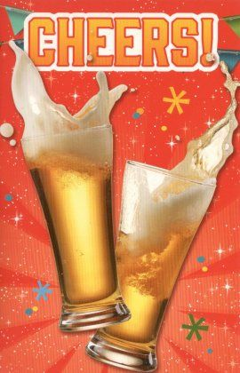 CHEERS!    Feestelijke verjaardagskaart voor mannen. Cheers!