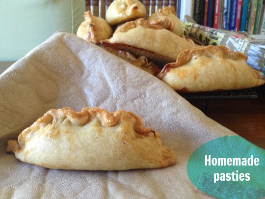 A basic and easy recipe for homemade pasties. These are happily eaten by my kids cold in their lunch box too!