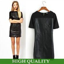 2015 moda outono inverno vestido de couro preto Patchwork vestidos de manga…