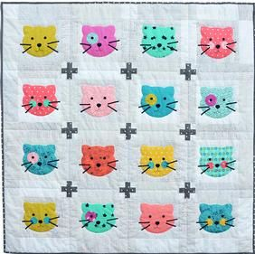 I have to try figure this out I had a kitty comforter growing up it means the world to me!!Kitty cat quilt pattern from ConnectingThreads.com