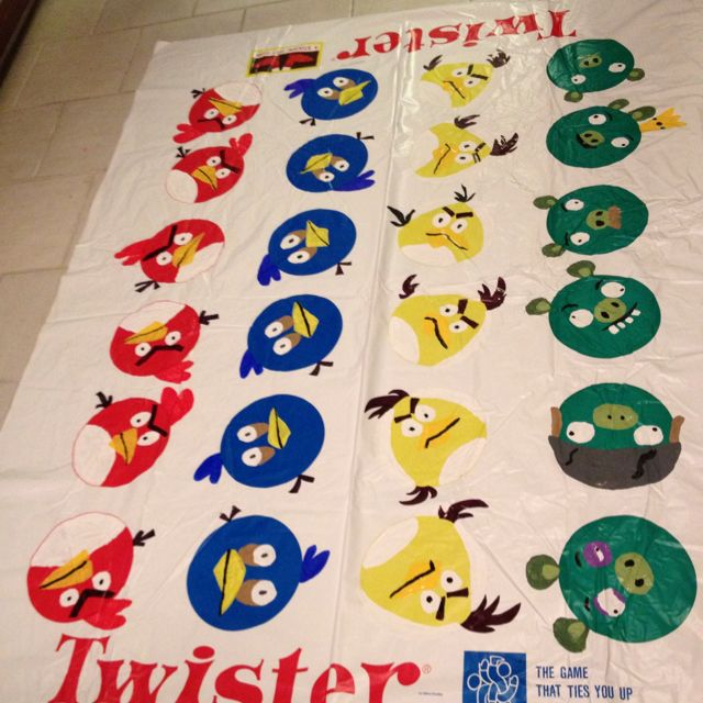 Angry Birds Twister. So much fun painting these faces and modifying this mat!!