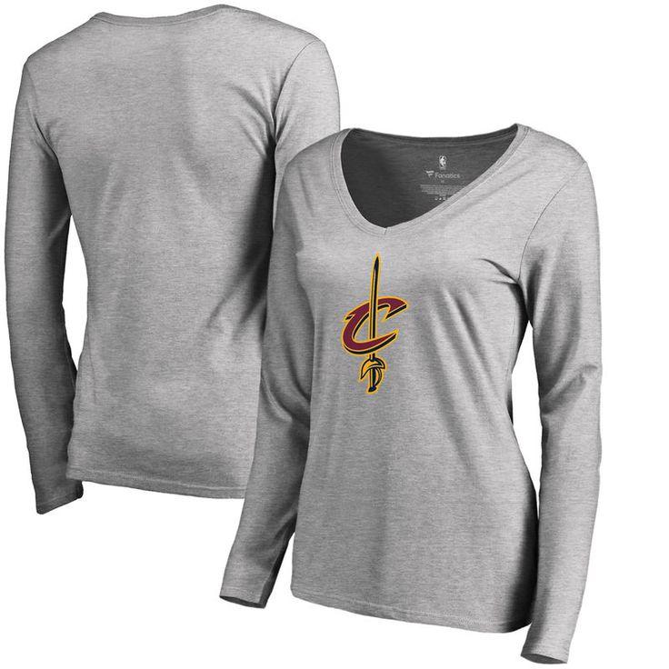 Cleveland Cavaliers Fanatics Branded Women's Primary Logo V-Neck Long Sleeve T-Shirt - Heathered Gray