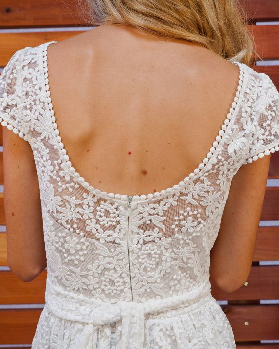 Coco Embroidered Lace Bohemian Wedding Dress by Dreamersandlovers