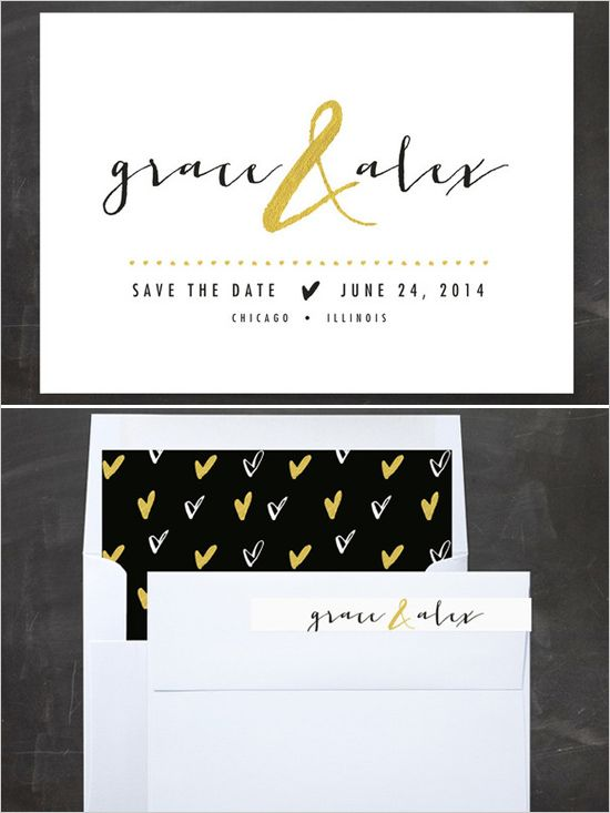 all that glitters save the date cards http://www.weddingchicks.com/2013/10/29/minted/