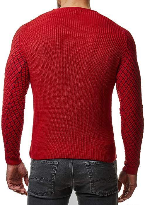 EightyFive Herren Winter Strick Pullover Slim Fit Netz Schwarz Weiß Rot  EF1746, Größe L cc4a34ce6f