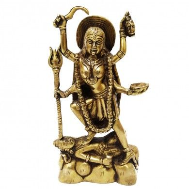 Engraved Statue of Goddess Kali on Lord Shiva Golden Brass Metal Sculpture Art