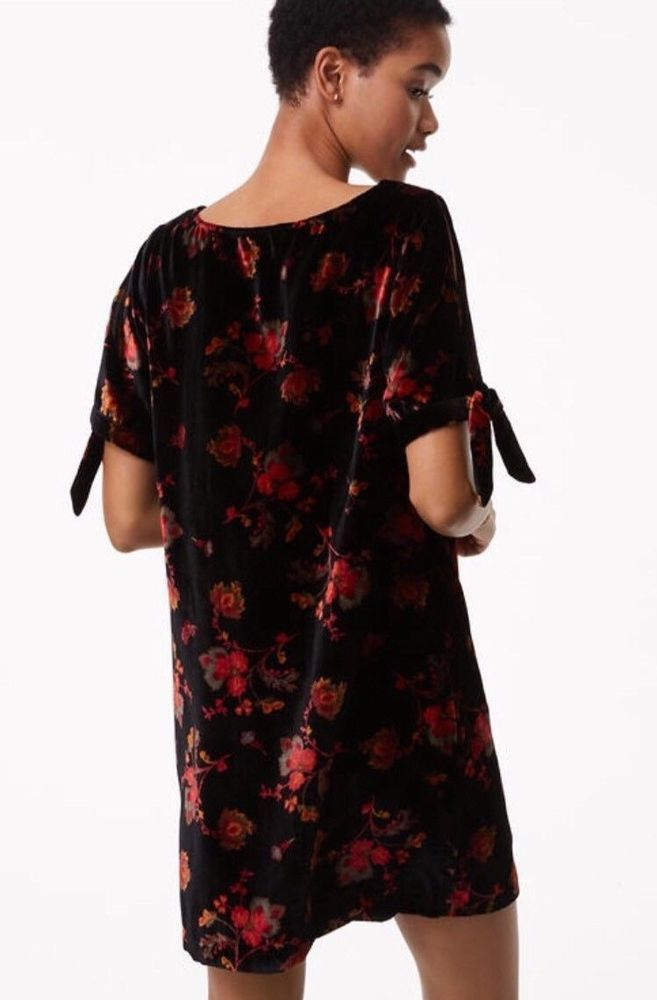 c9f4496bf420d Ann Taylor LOFT Velvet Shift Dress XL 16 Black Floral NEW Split Sleeve $98  NWT #AnnTaylorLOFT #ShiftDress