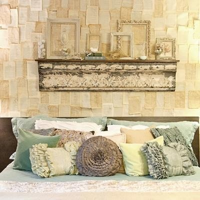 DIY: Pages from old vintage books with spray adhesive to make wallpaper.  It would be too much work for an entire wall but on a canvas or even framed would look great as an accent piece.: Vintage Books, Idea, Old Books Pages, Bedrooms Makeovers, Color, Frames, Vintage Bedrooms, Master Bedrooms, Vintage Rooms