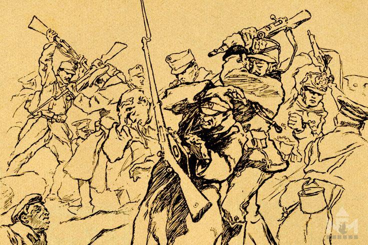 Huszárok összecsapása. Garay Ákos rajza nyomán Julier Ferenc Limanova című könyvéből