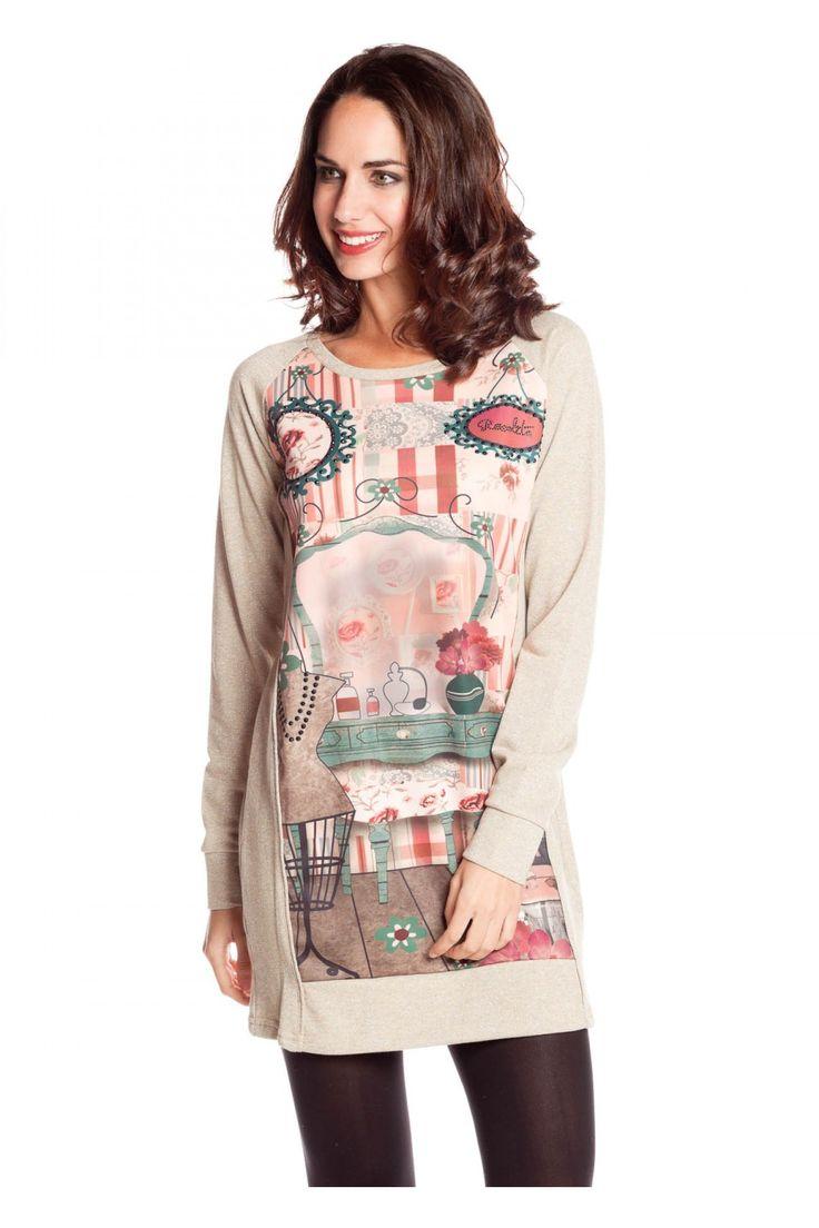 Vestido hilos plateados estampado - Vestidos Mujer | Rosalita McGee