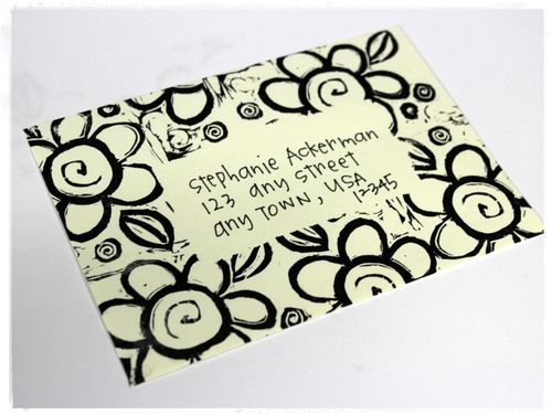 Rubber stamp over blank space for address - Stephanie Ackerman