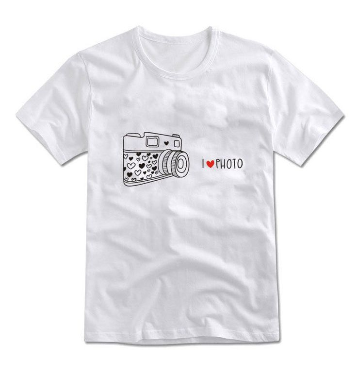 MIRINE Unisex I LOVE PHOTO Cute Camera Graphic Cotton Basic T-shirt_4 Colors #MIRINE #CASUAL