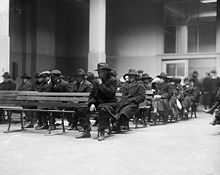 """1920: Suspected """"radicals"""" arrested during the Palmer Raids - also known as the (first) Red Scare - awaiting deportation hearings Ellis Island"""