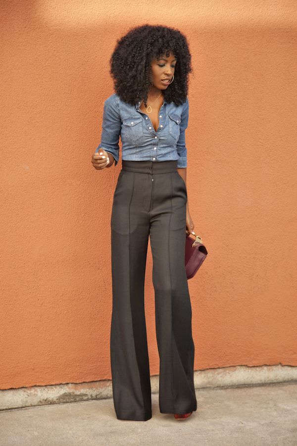 All Day this outfit is MyStyle!!! Fitted Denim + High Waist Trousers