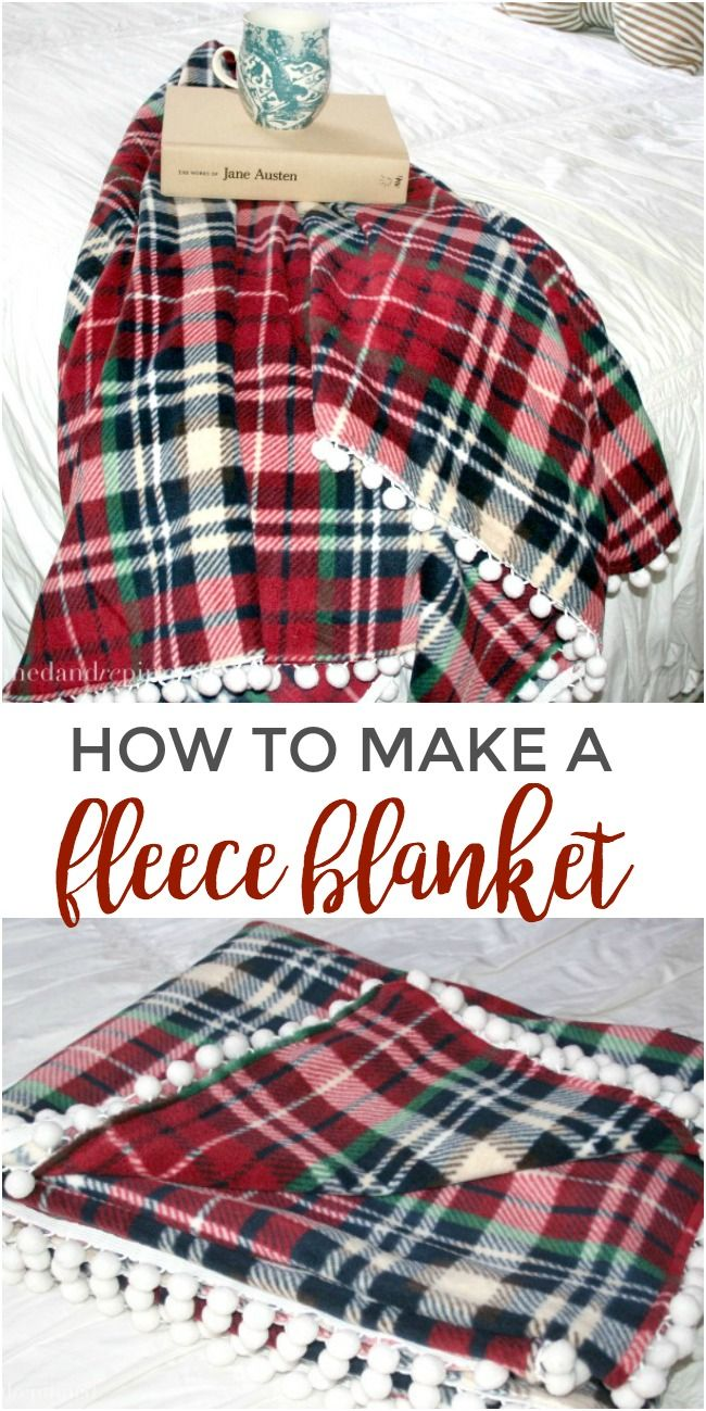 How to make a fleece blanket with pom pom trim. via @pinnedandrepinn