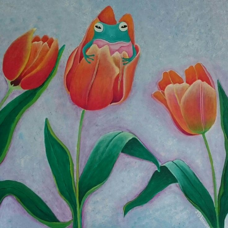 Frog in a tulip  Acrylics on canvas  Size: 60x60 cm