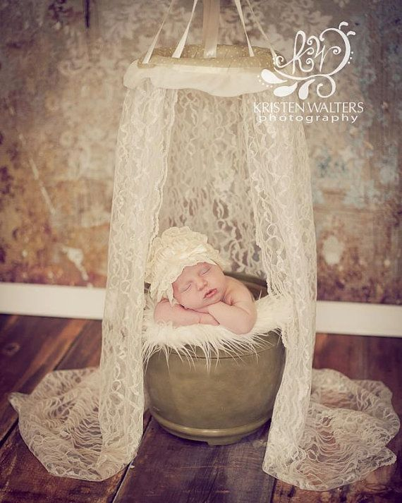 Photography Prop Lace Canopy - Newborn Photography Prop, Lace Canopy, Cream, Chiffon, Bed Canopy, Girl, Vintage on Etsy, $42.50