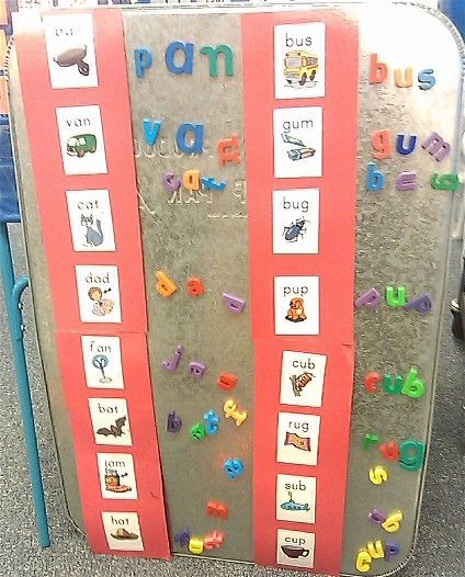 use a large magnetic drip pan for this center where children practice working with letters and sounds by using magnetic letters to make CVC words.