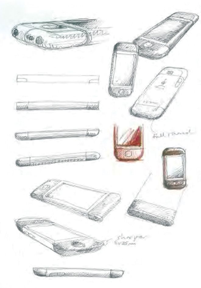 iPHONE, design-concept sketch, date unknown  Jonathan Ive/Apple design team