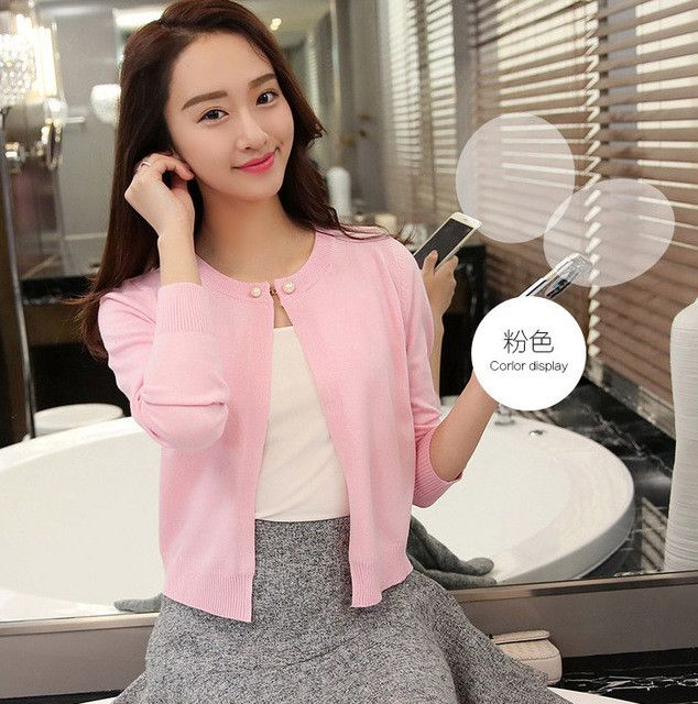 OHRYIYIE Spring Summer Sweater Women Cardigan Sweater Solid Color One Button Women's Cashmere Sweater Female Cardigan Pull Femme