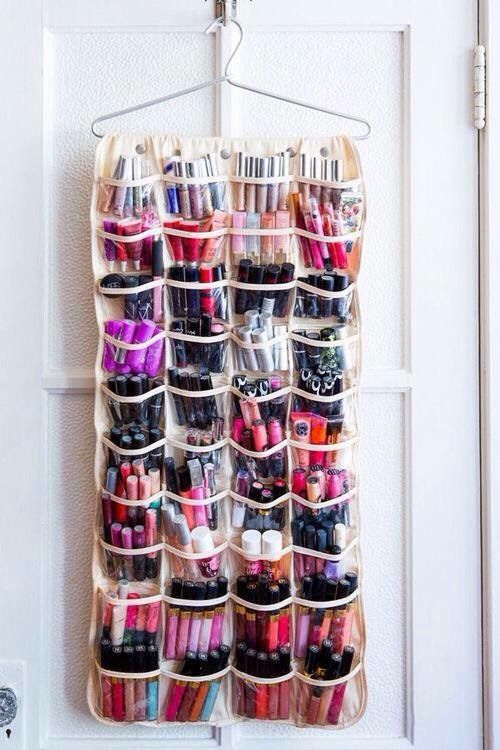 Shoe Organizer | Organize Your Makeup With These 17 Cool DIY Organizer. From Repurposed Materials That Will Save You A Lot Of Space And Money! by Makeup Tutorials at http://makeuptutorials.com/13-extremely-cool-diy-makeup-organizers/