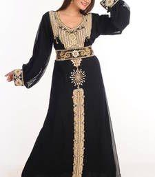 Buy Black georgette embroidered abaya abaya online