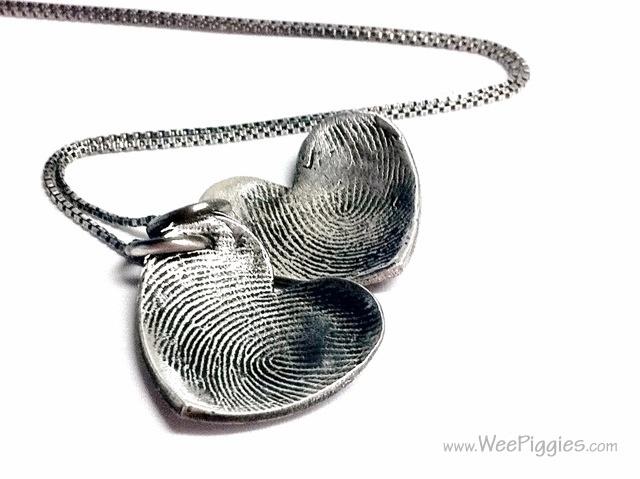 Sterling Silver fingerprint necklace. WeePiggies.com