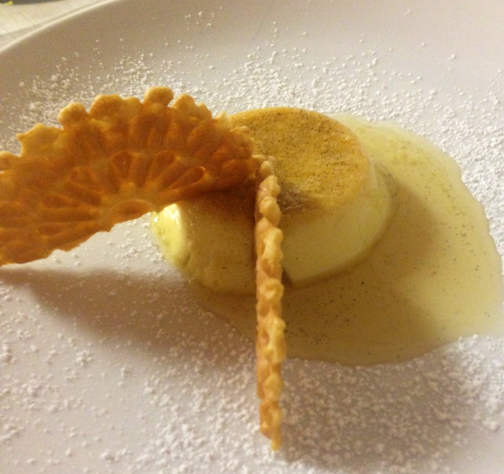 Creme Caramel with maple scented pizzelle.