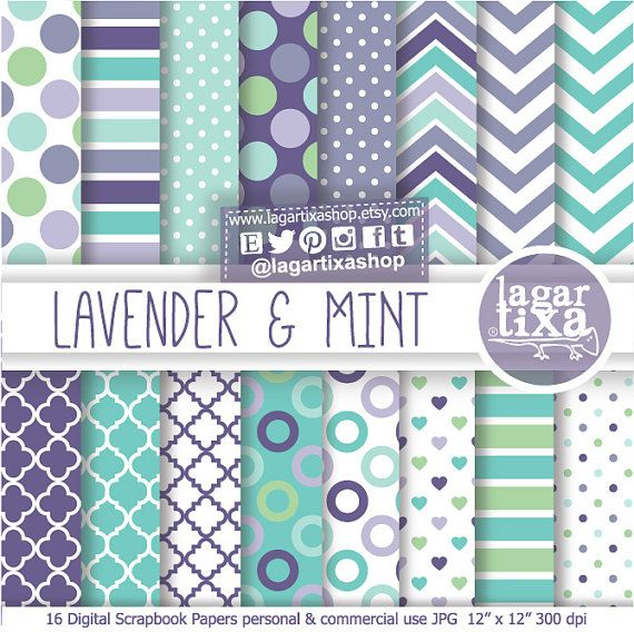 Lavender Mint Teal patterns Digital Paper Mint chevron polka dots quatrefoil for invitations blog background party printables labels toppers