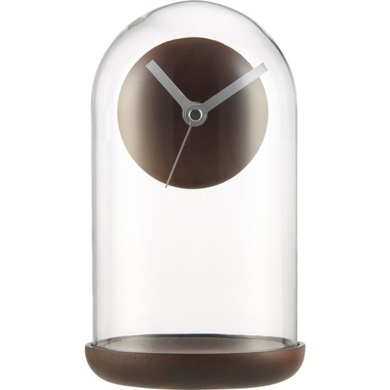 Suspend Walnut Mantel Clock ($50) found on Polyvore Suspend Walnut Mantel Clock $50 Contemporary take on a classic mantel clock floats a precision timepiece in a sleek glass dome. Brushed aluminum hands sweep on solid walnut face, styled modern without numerals and complimented by turned walnut base.