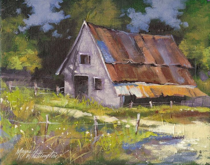 17 best images about paintings gardens and old buildings for Watercolor barn paintings