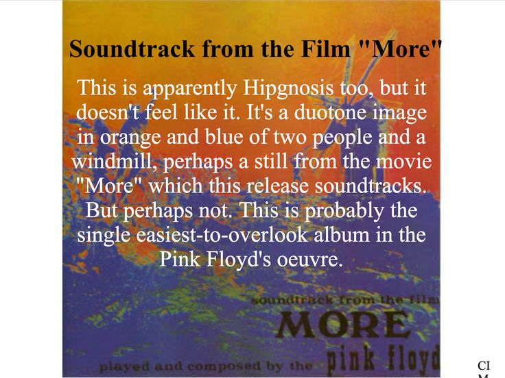 """Pink Floyd - Soundtrack from the Film """"More""""  Created by CIM"""