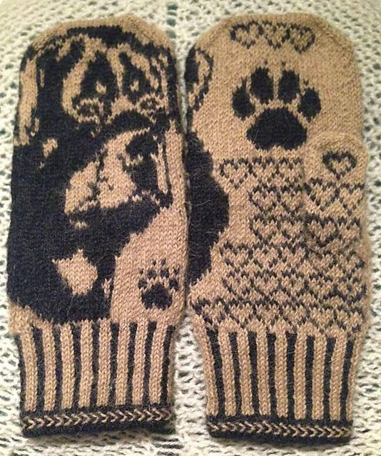 Ravelry: Rottweiler Mittens pattern by Connie H Design